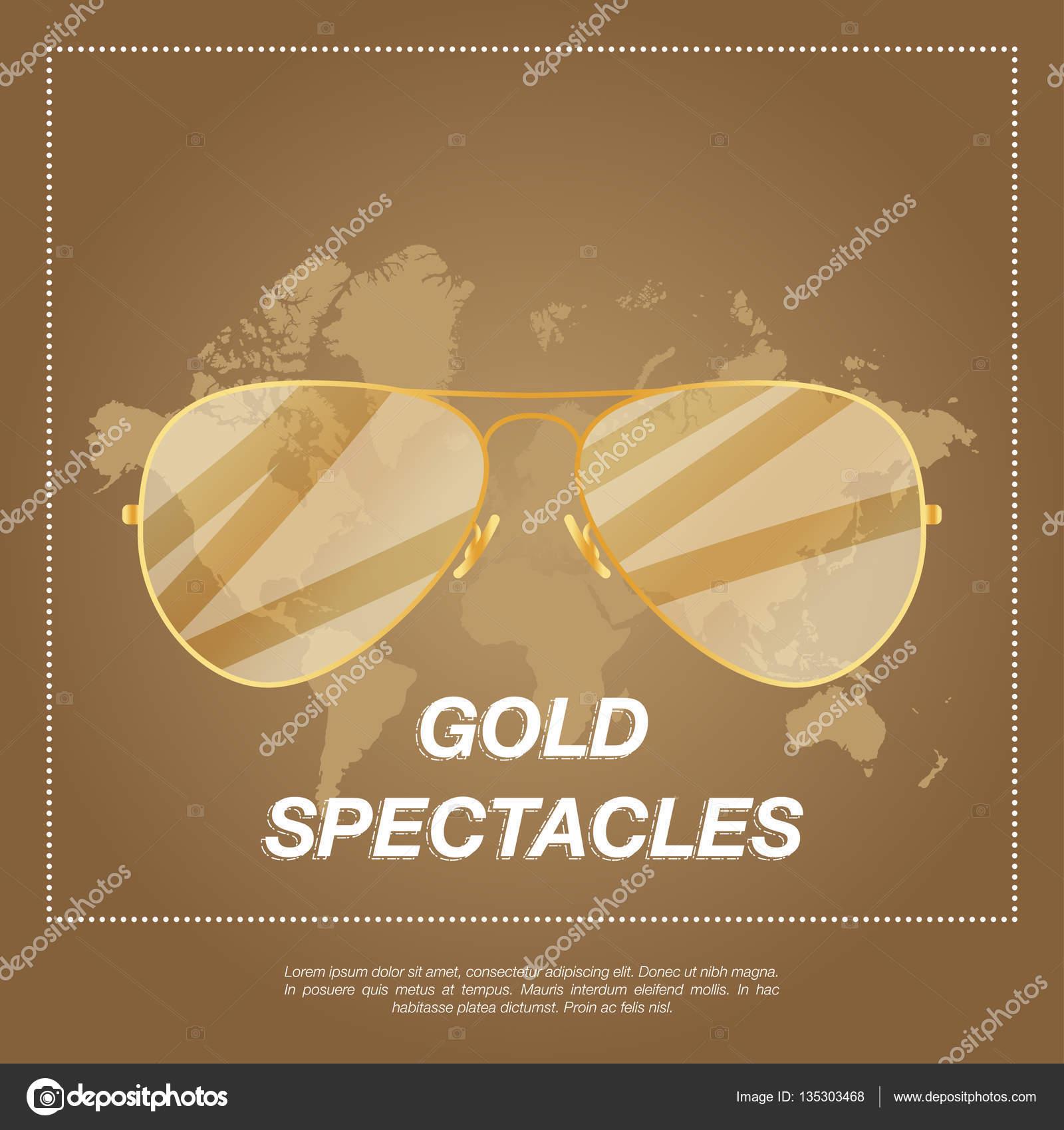 Goldene Pilotenbrille mit Goldrahmen — Stockvektor © vadishzainer ...