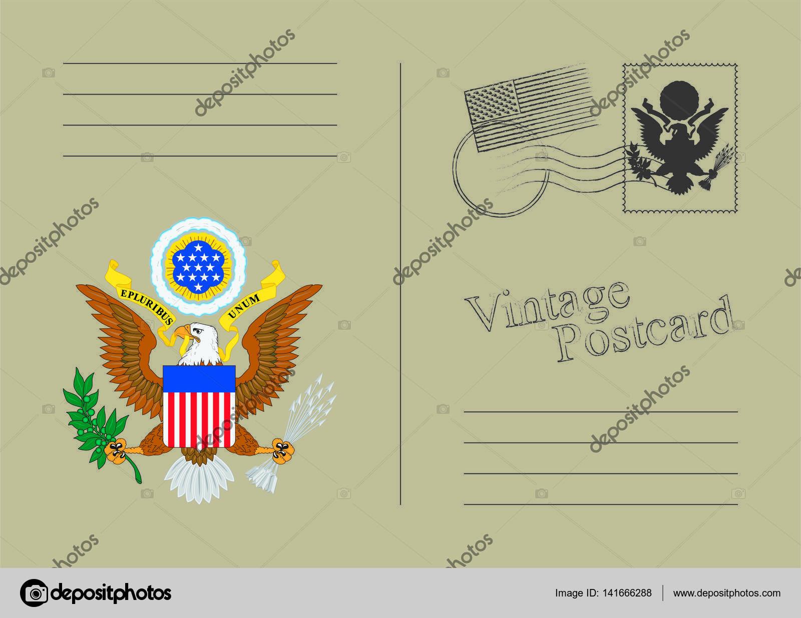 Postal del Vector de Estados Unidos. Época antigua atrás. Diseño de ...