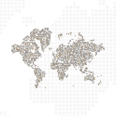 Abstract world map in a round dots.