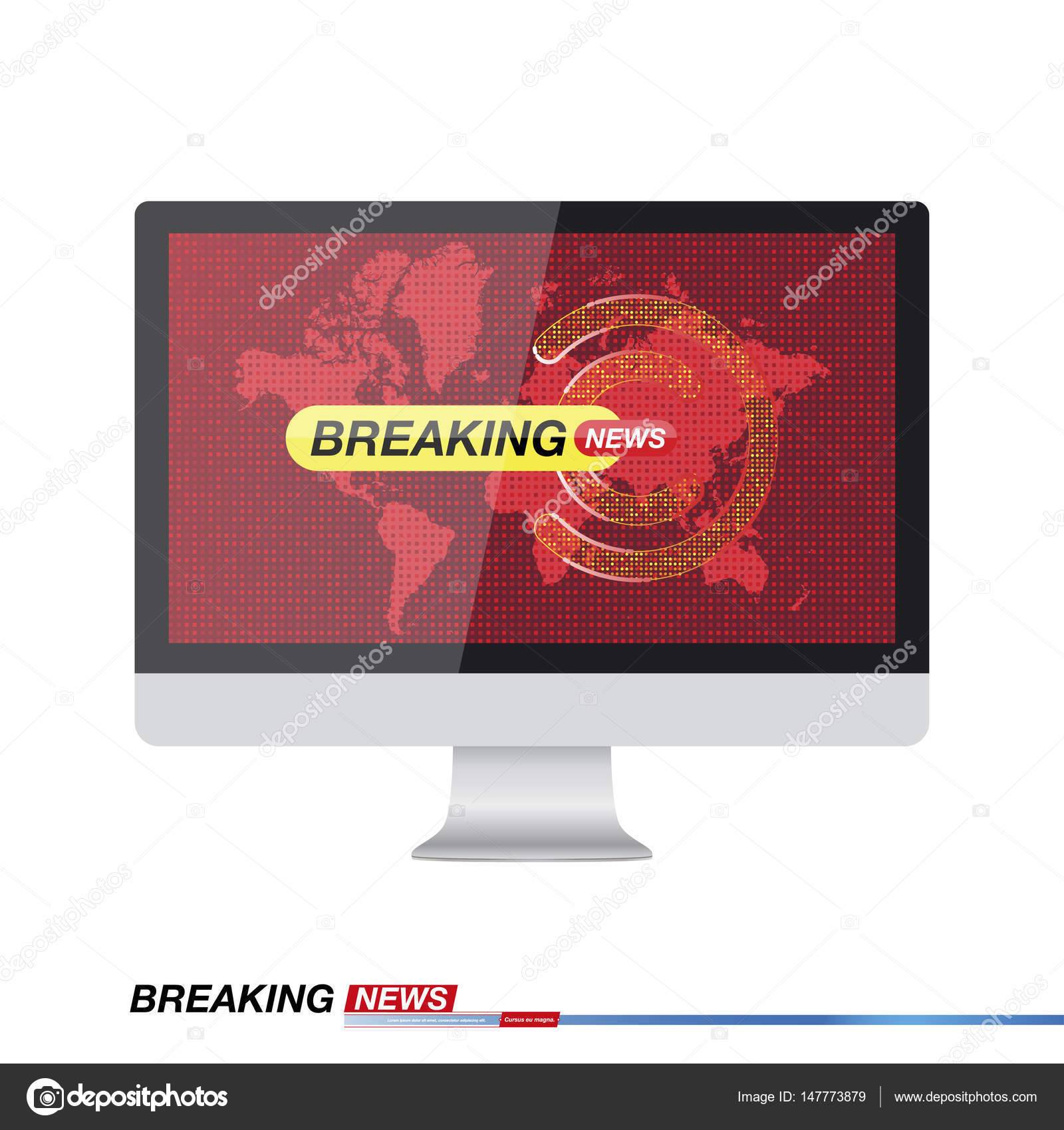Breaking News Against In Monitor On The Background Of The World Map