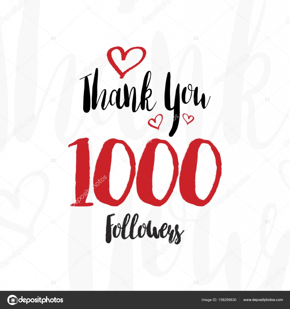 Greeting Card With The Lettering Thank You For 1000 Followers