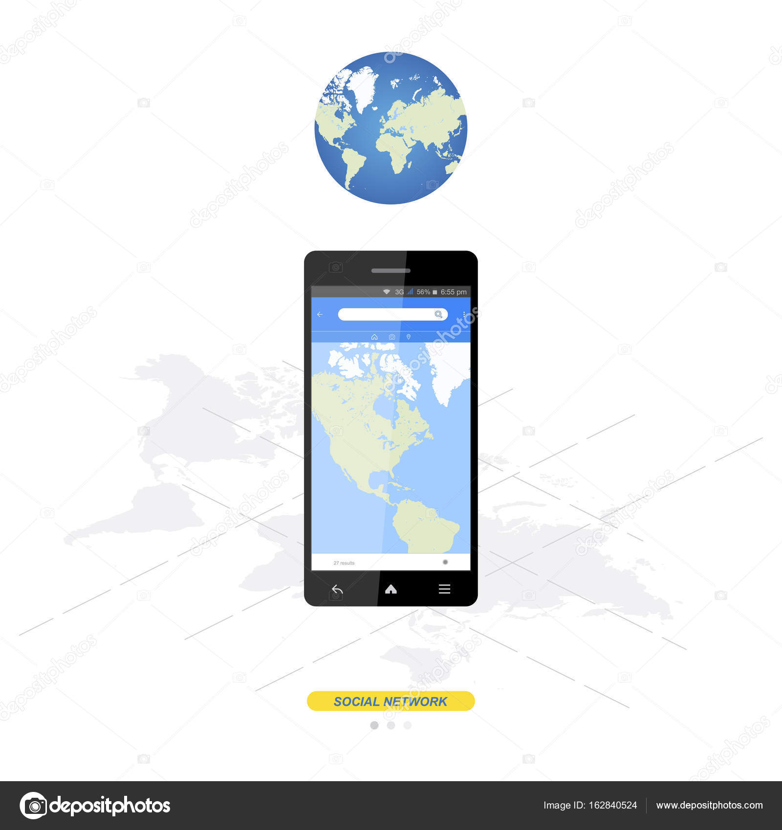 Mobile application with world map for navigation in smartphone mobile application with world map for navigation in smartphone stock vector gumiabroncs Images