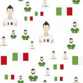 Italský bezešvé vzor vlajky a lidé