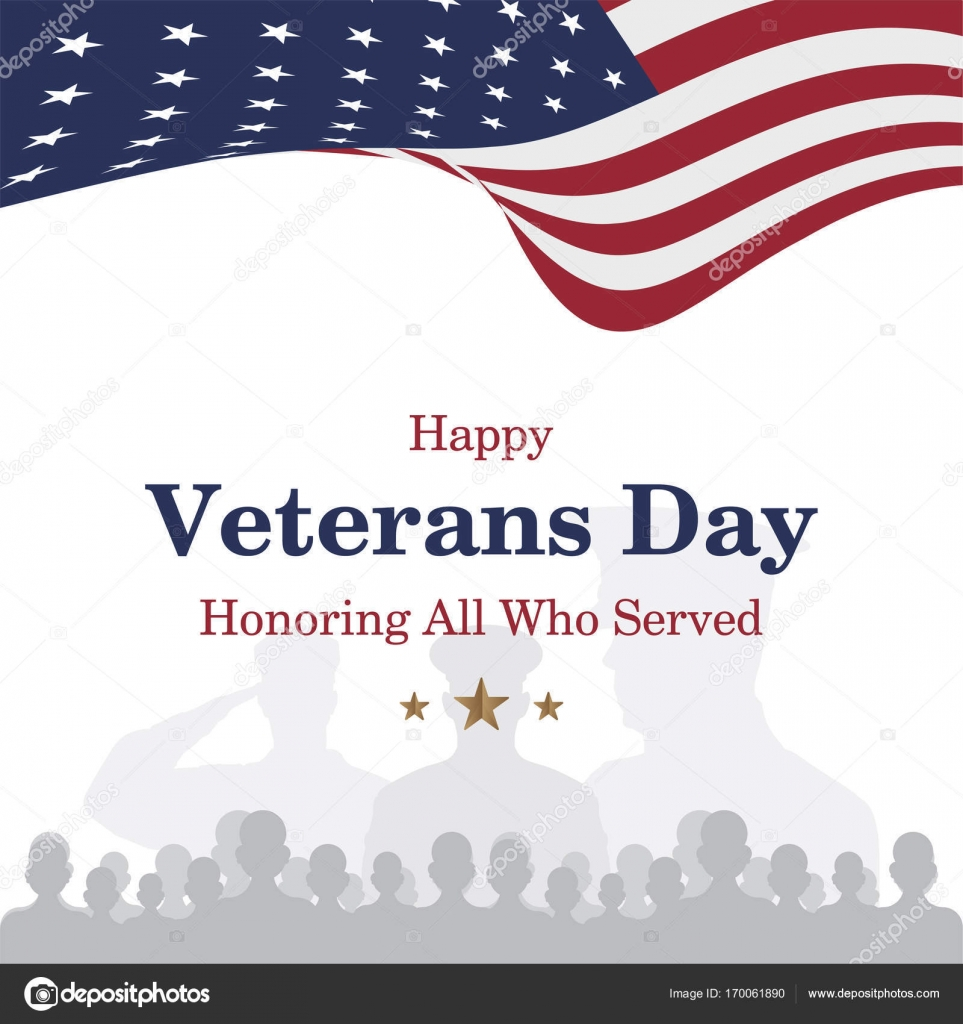 Happy veterans day greeting card with usa flag and soldier on happy veterans day greeting card with usa flag and soldier on background stock m4hsunfo Image collections