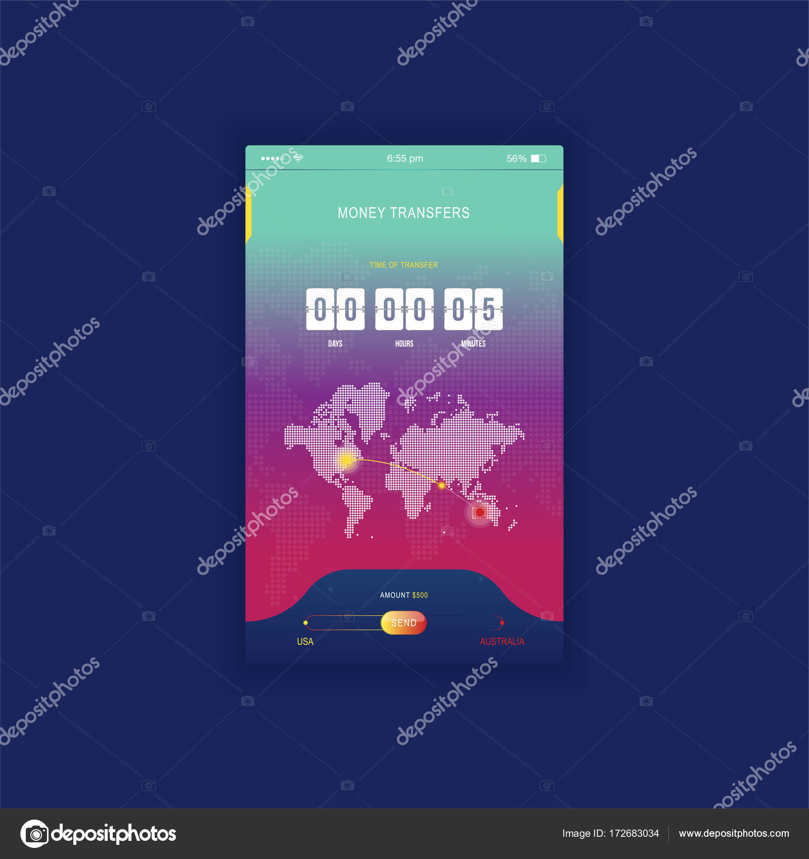 Modern ui mobile app for online transfer money with timer countdown mobile app for online transfer money with timer countdown ux application and flat web icons with world map flat vector illustration eps 10 gumiabroncs Image collections