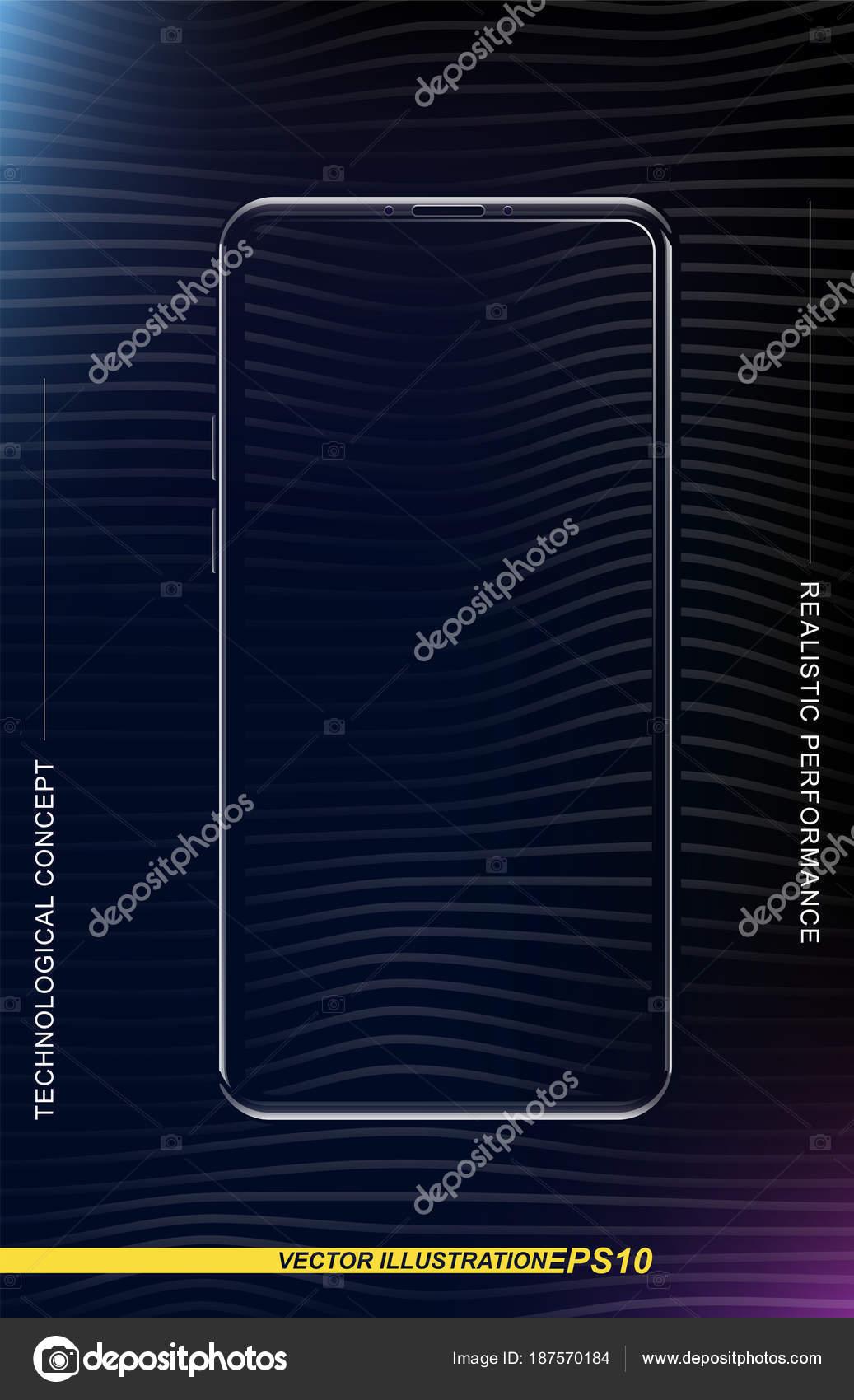 Smartphone Realistico In Un Formato Verticale Con Uno Schermo