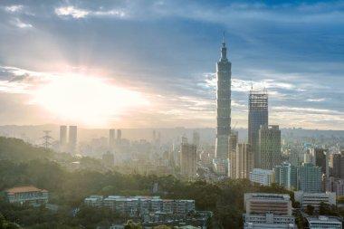 Panoramic of Taipei city at sunrise