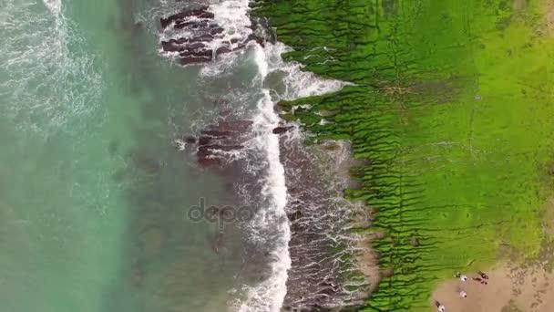 Aerial shot of The green Reef, Taiwan(Lao Mei green rock)