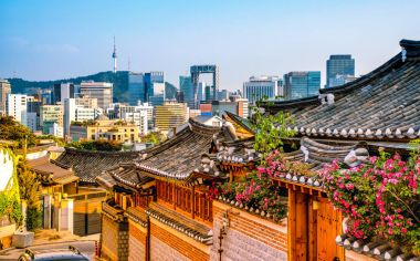 Traditional Korean style architecture at Bukchon Hanok Village in Seoul