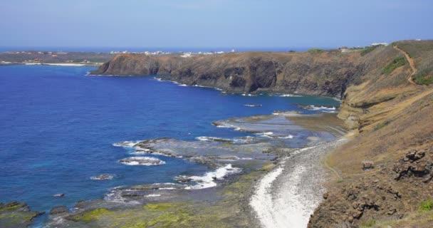 Great cliff coastline scenery and amazing beautiful blue ocean in Chimei island, Taiwan.