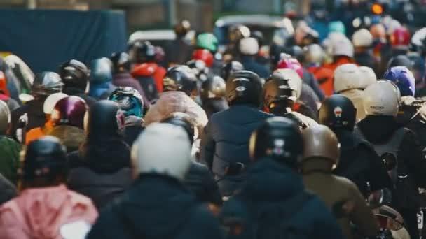 Heavy morning motorbike traffic in Taipei