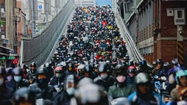 Heavy morning motorbike traffic in Taipei
