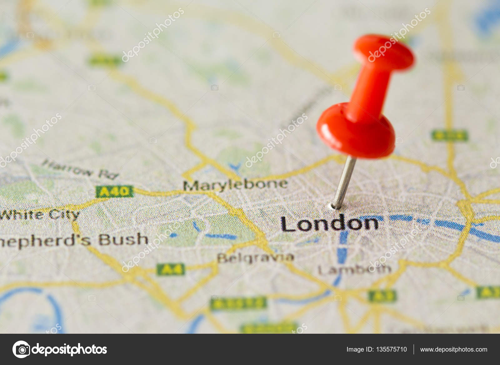 Close up of London ,United Kingdom map and red pin — Stock ...