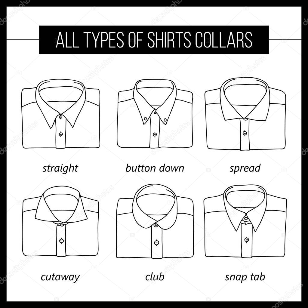 Shirt design types - Different Types Of Shirt Collars Vector Set Vector By Lazuin Gmail Com