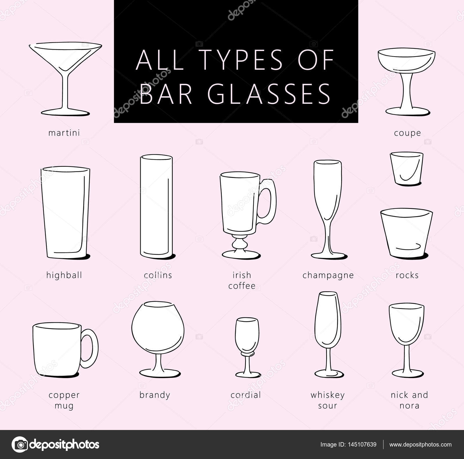 Wonderful Bar Glasses Vector Icons Set. Vector Types Of Barware Glasses Silhouettes.  Guide To Various Types Of Barware Glasses. U2014 Vector By Lazuin.gmail.com