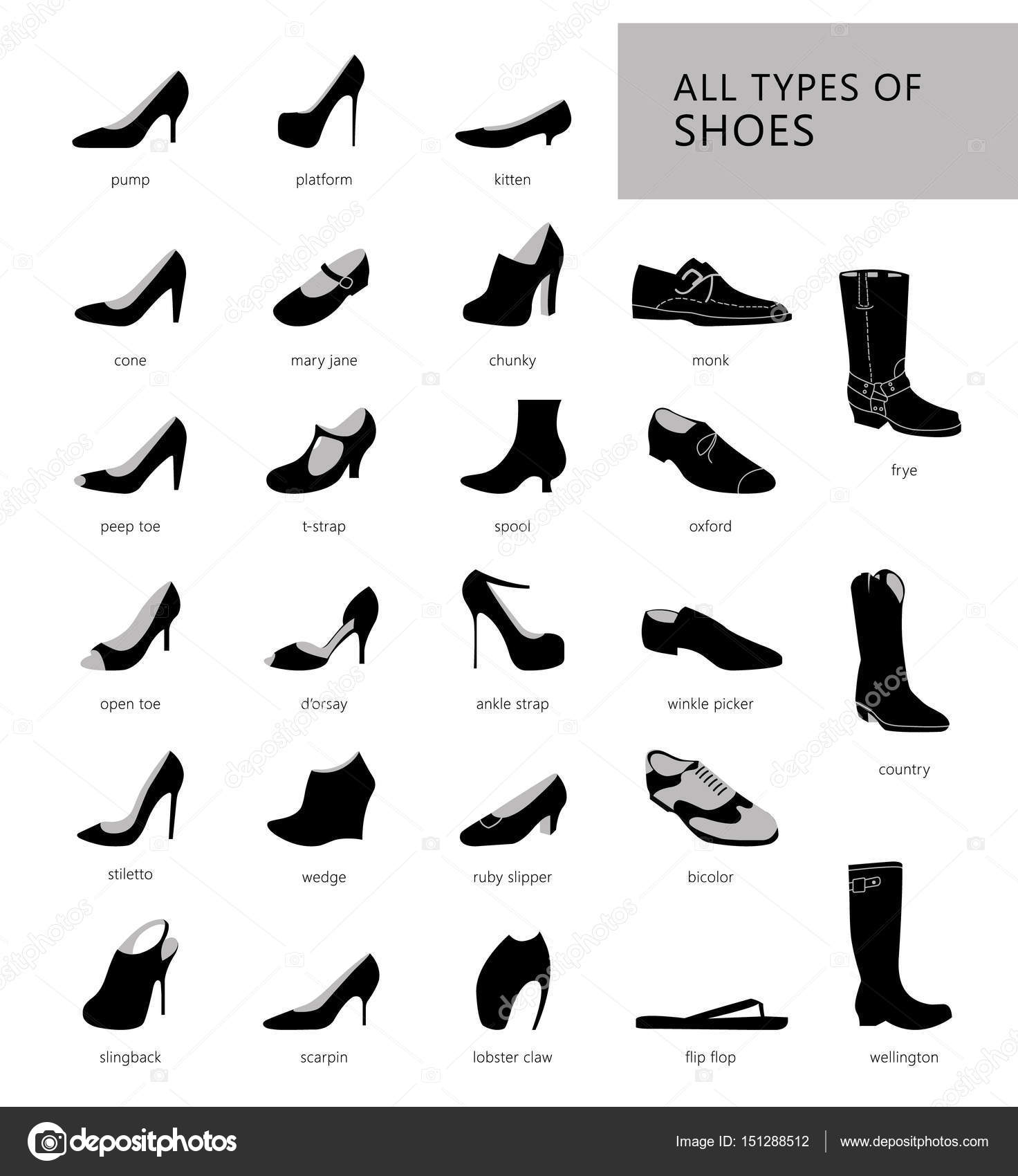 all types of shoes — Stock Vector © Lazuin.gmail.com ...