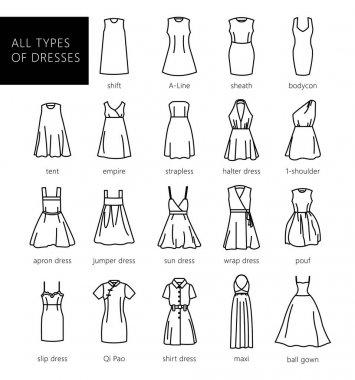 Dresses silhouette vector set. Vector. All types of women's dresses. stock vector