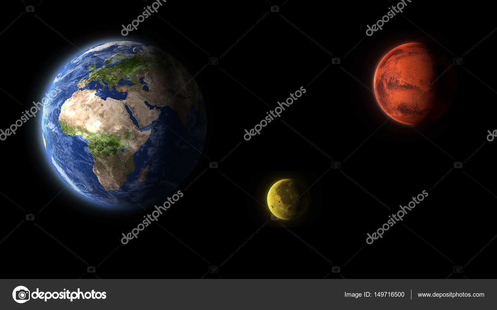 Erde Mond Mars Roten Planeten Isoliert Auf Schwarz Stockfoto