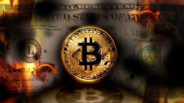 Bitcoin vs dolar, Amerika Birleşik Devletleri banknot dolar yanan arka plan, kavramsal Kripto Döviz finans piyasasında, 3d çizim