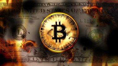 Bitcoin Kripto para birimi ABD Doları banknot yanan, kavramsal Kripto para finans piyasası, 3d çizim