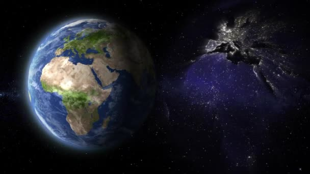 Erde gepflanzt Rotation Tag und Nacht Lichter Animation