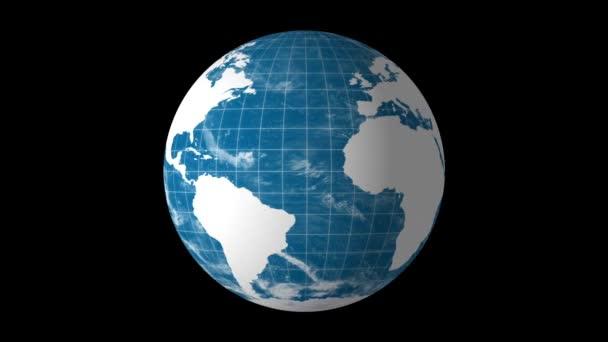 rotace země světa s bílou mapu a zeměpisná šířka a délka