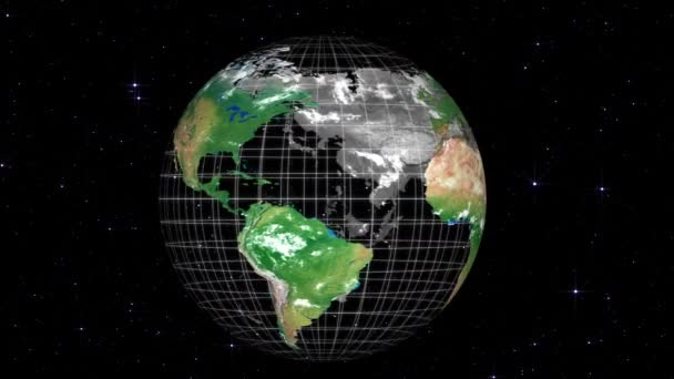 Globe planet earth rotation, 3d animation with stars space background