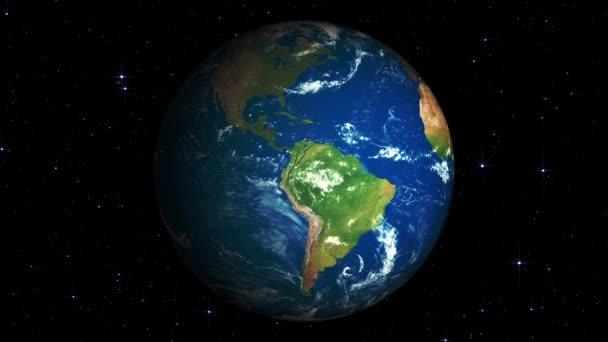 Země svět planeta rotace s hvězdami na pozadí