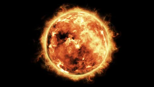 planet sun with solar flares animation on black background