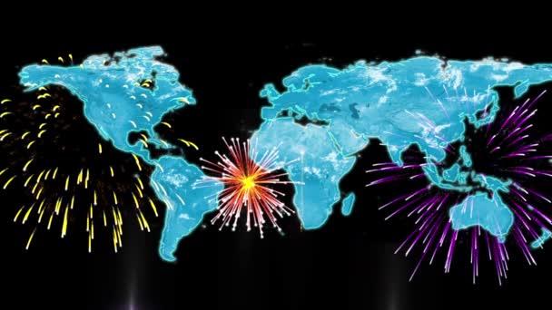 világ Térkép-val tűzijáték
