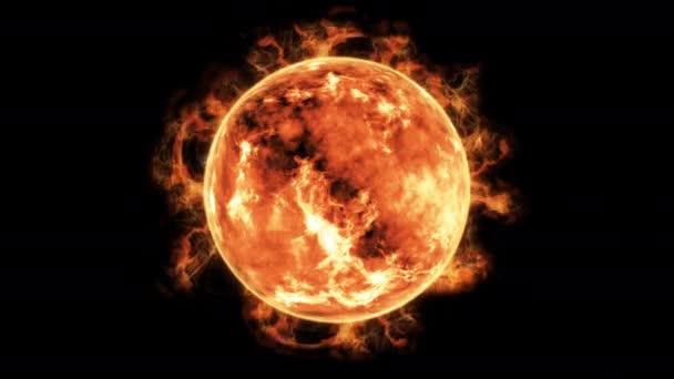 slunce planetu pálení s realistické sluneční erupce 3d vykreslování obrázku 4 k na černém pozadí