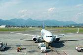 Photo 23 May 2017 - Bergamo, Italy : Ryanair airplane parking at Orio al Serio International Airport. It is an Irish low-cost airline,