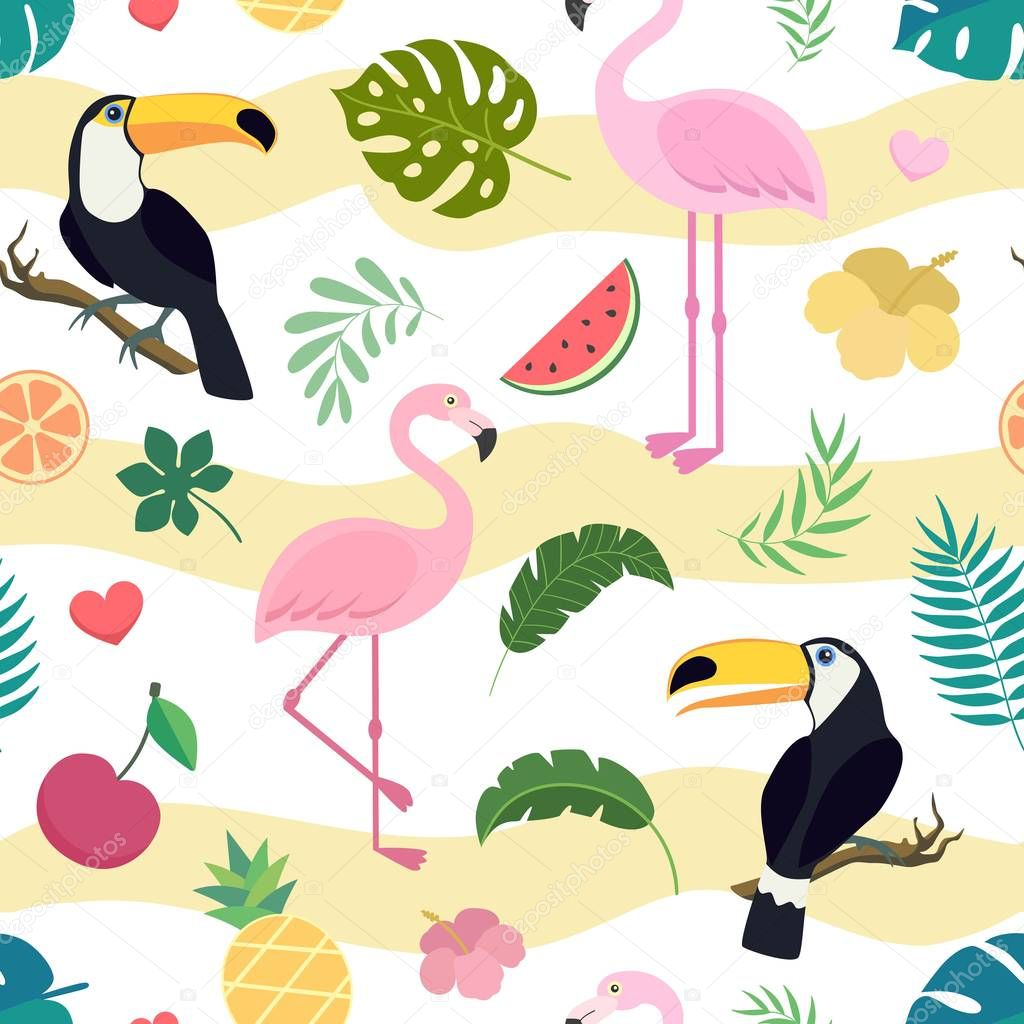 Vector seamless tropical pattern with toucan bird and flamingo