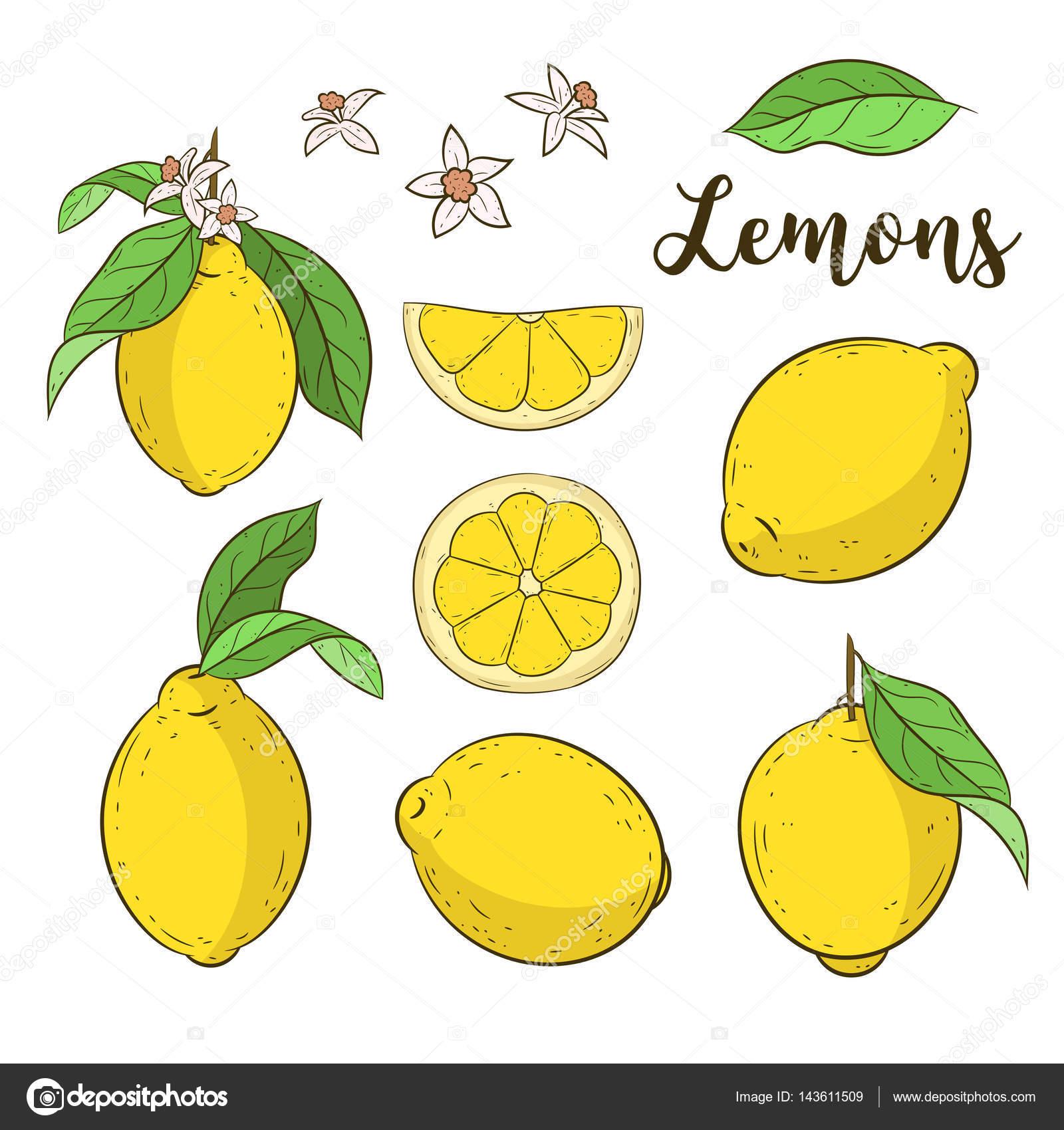 レモンを設定しますかわいい背景イラスト ストックベクター