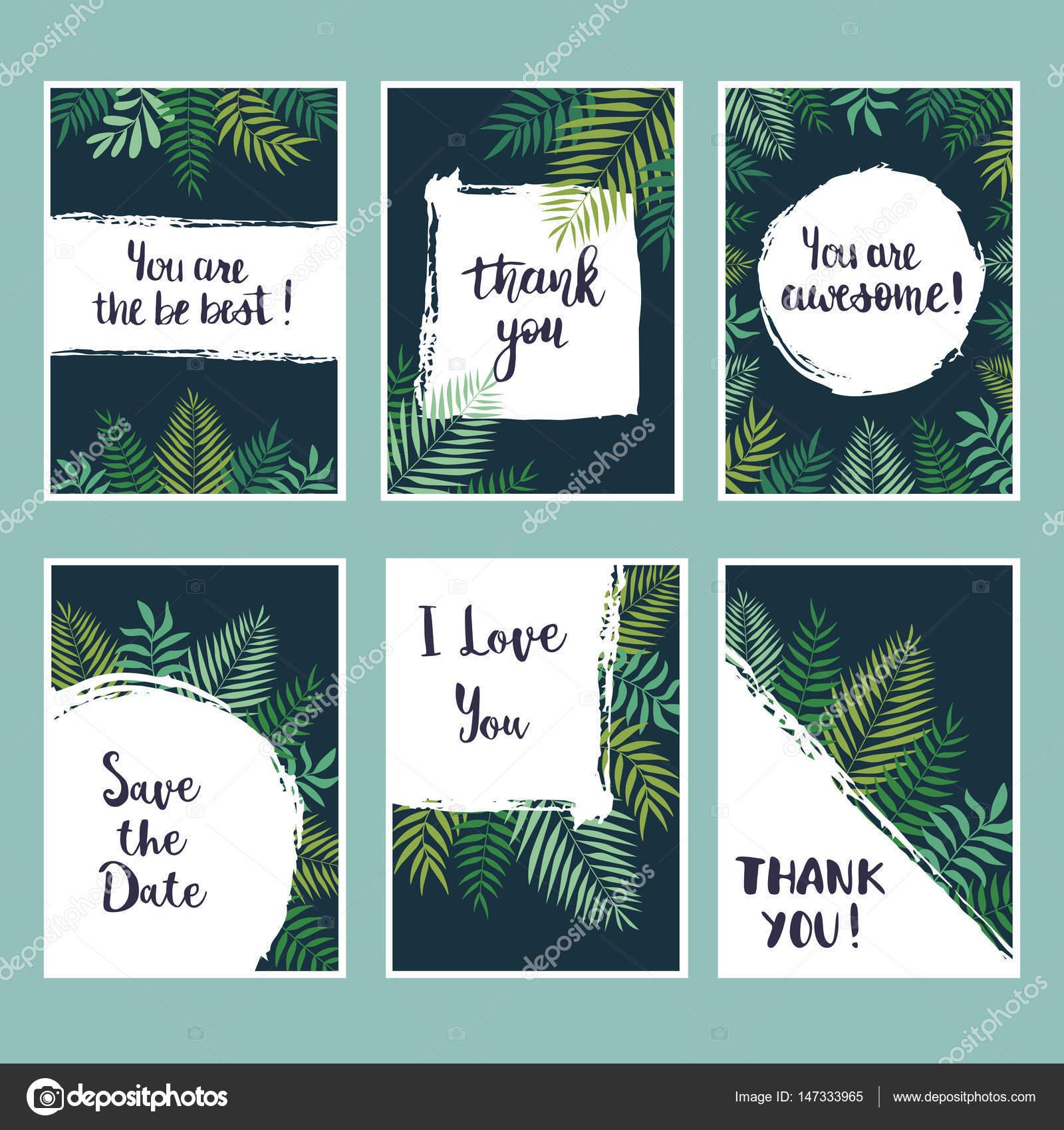 Conjunto de vector de tarjetas tropical. Diseño de plantillas ...