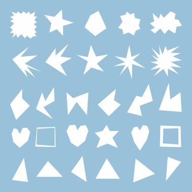A set of sharp figures in development. Variants of geometry with sharp corners, dice for text. Square light blue tile. Irregular broken line. White starry figures. Primitive flat style. Brutal design