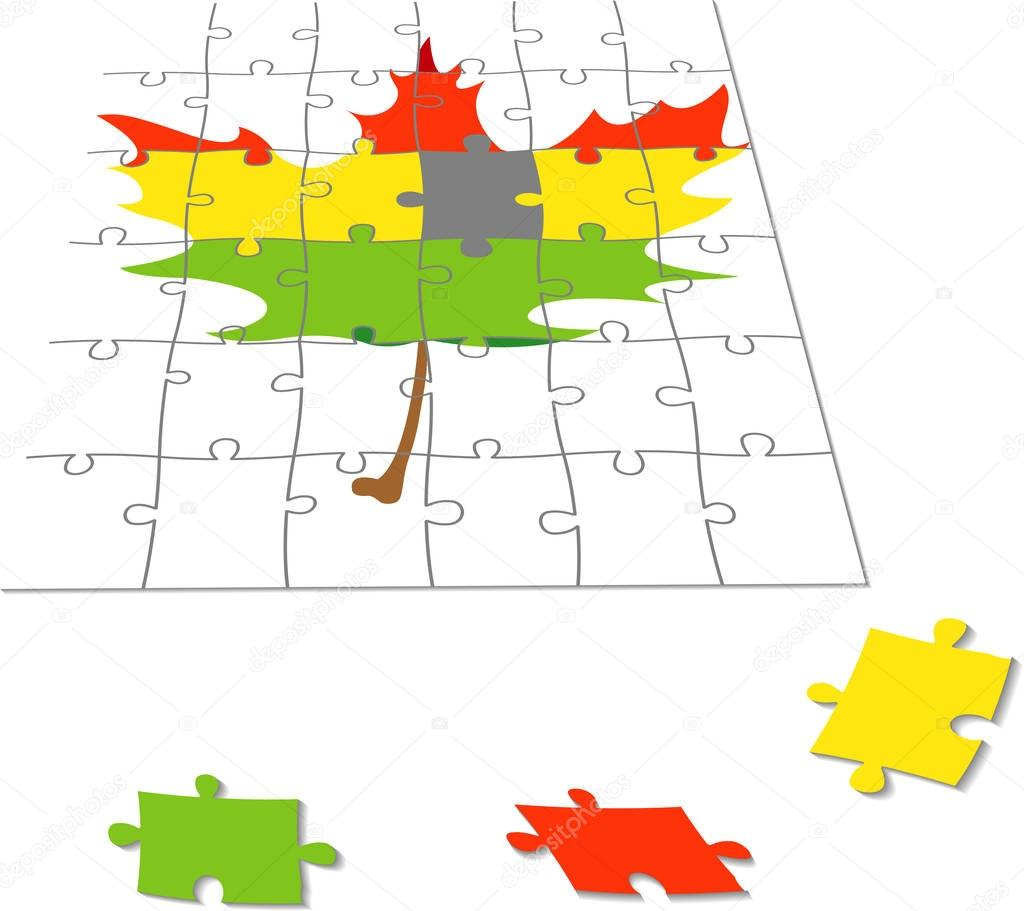 puzzles with a maple leaf