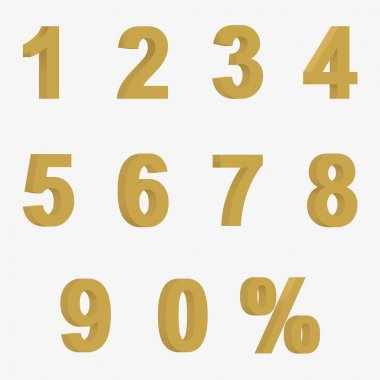 Set 3D of figures of golden color and sign of percent