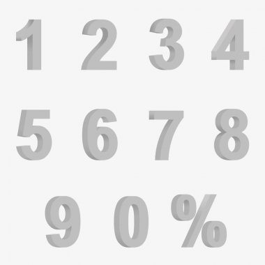 Set 3D of figures of grey color and sign of percent