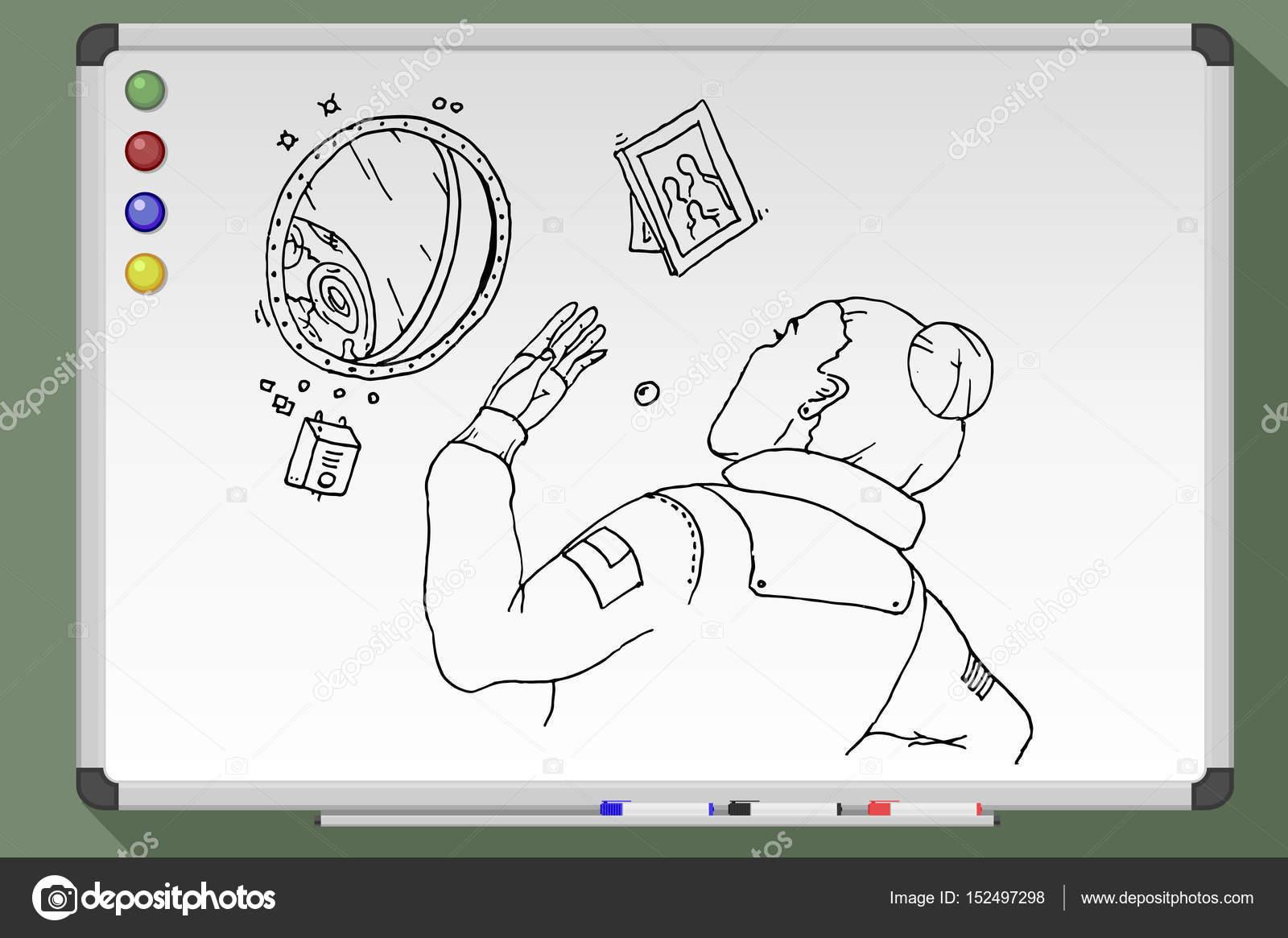 Chica astronauta mira el ojo de buey. Ilustración de vector — Vector ...