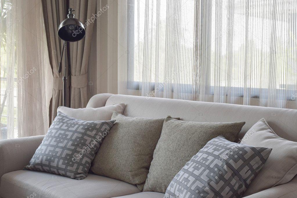 Textur Kissen Beige Sofa Im Modernen Wohnzimmer U2014 Stockfoto