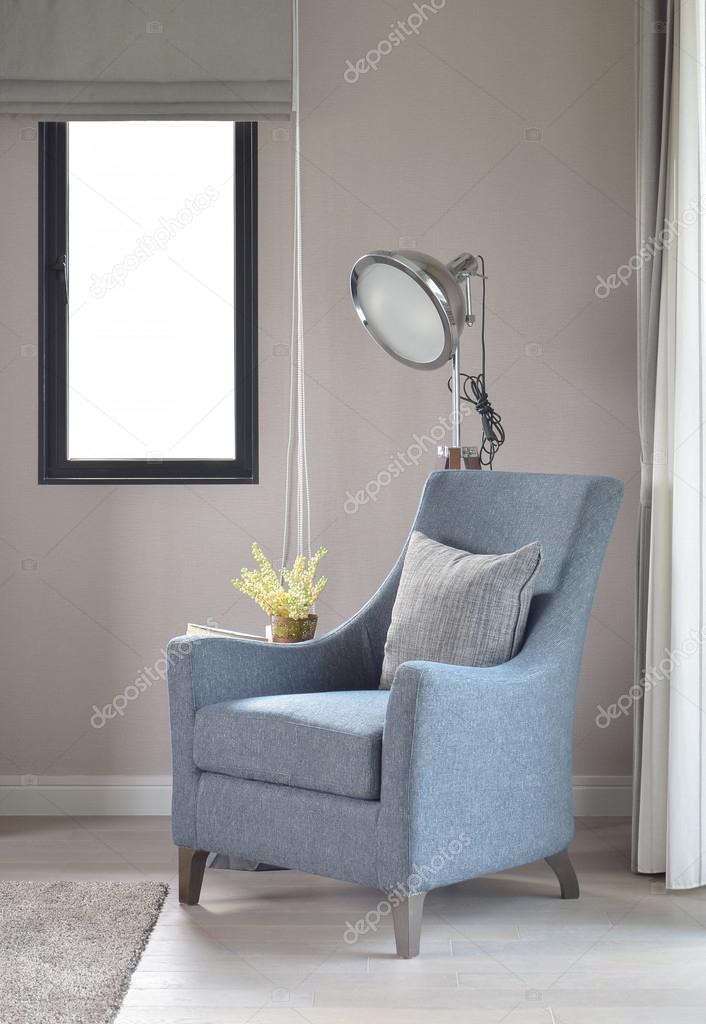 Light Blue Armchair With Gray Pillow And Retro Lamp In The Living Room U2014  Stock Photo