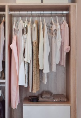 modern closet with row of dresses hanging in wooden wardrobe