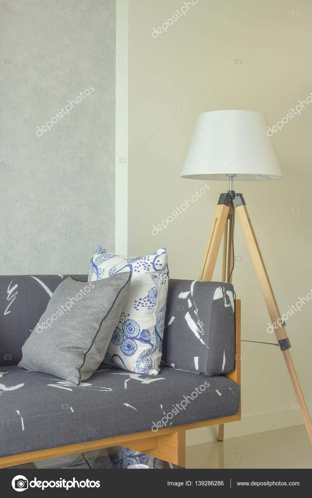 Wooden Base With Gray Upholstery Sofa And White Shade Wooden Floor Lamp Stock Photo C Worldwide Stock 139286286