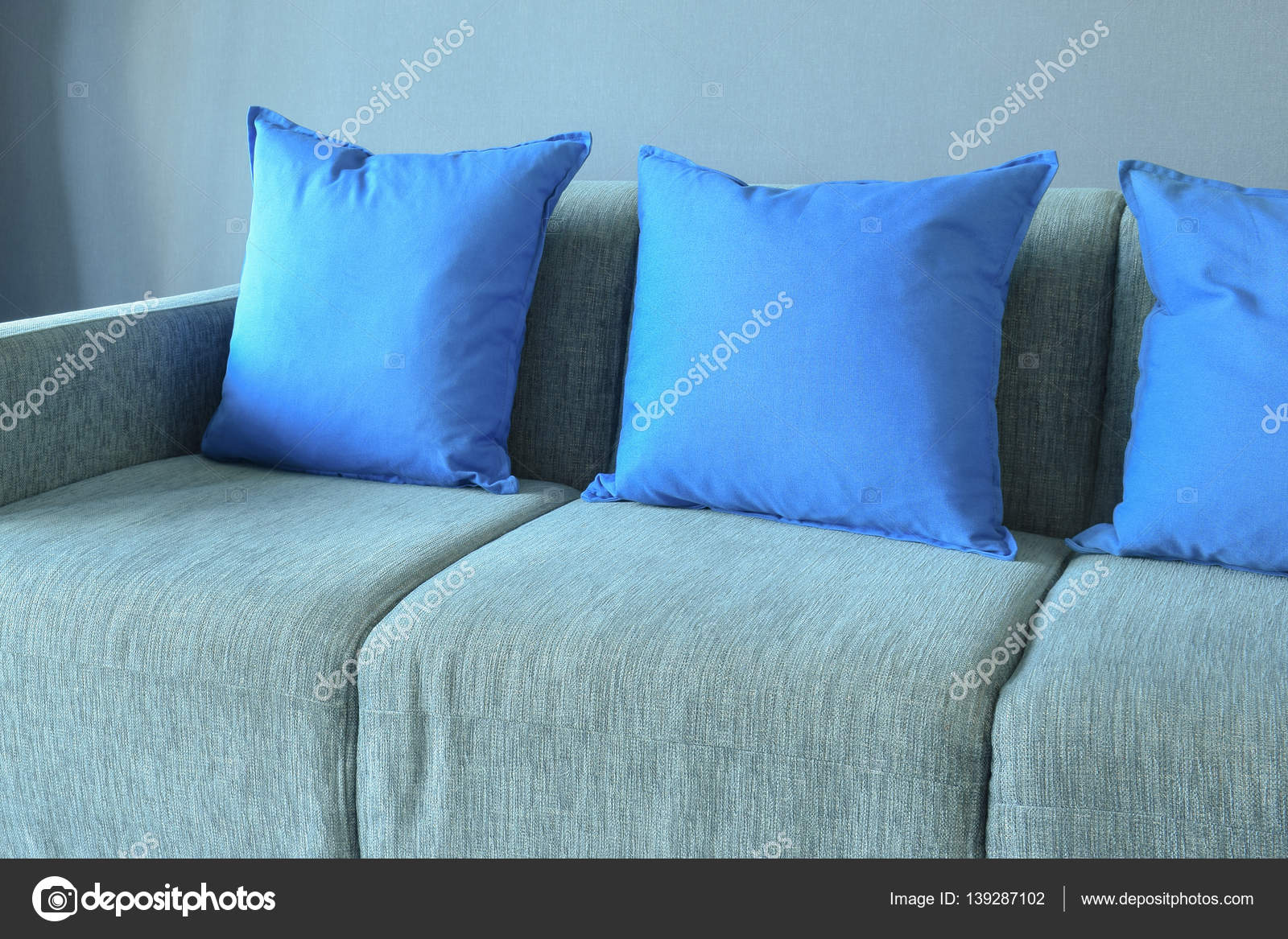 Stupendous Blue Color Pillows Setting On Light Blue Sofa With Blue Wall Uwap Interior Chair Design Uwaporg
