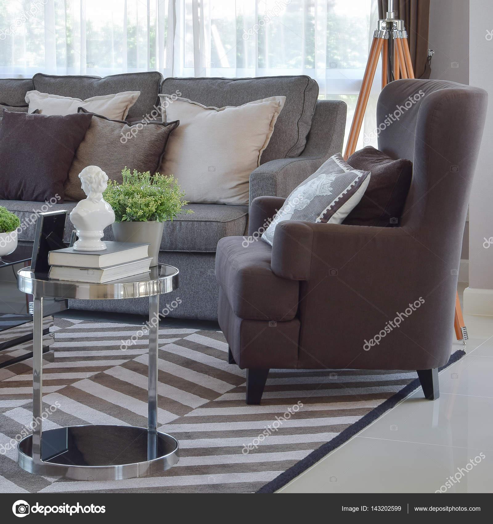 Moderne Wohnzimmer Design Mit Tweed Braunen Sofa Und Sessel U2014 Stockfoto