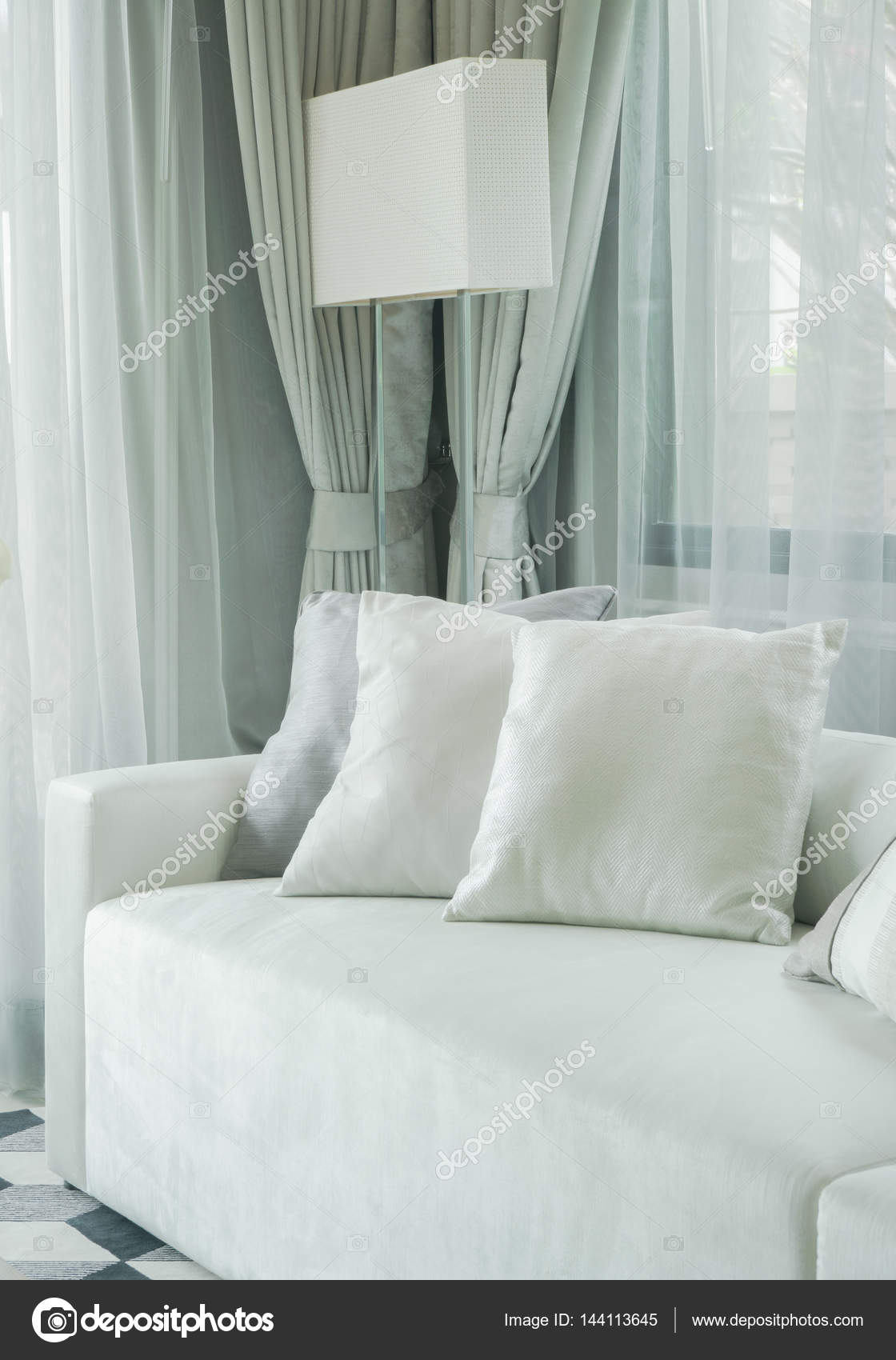 Gray color scheme living room decoration — Stock Photo ...
