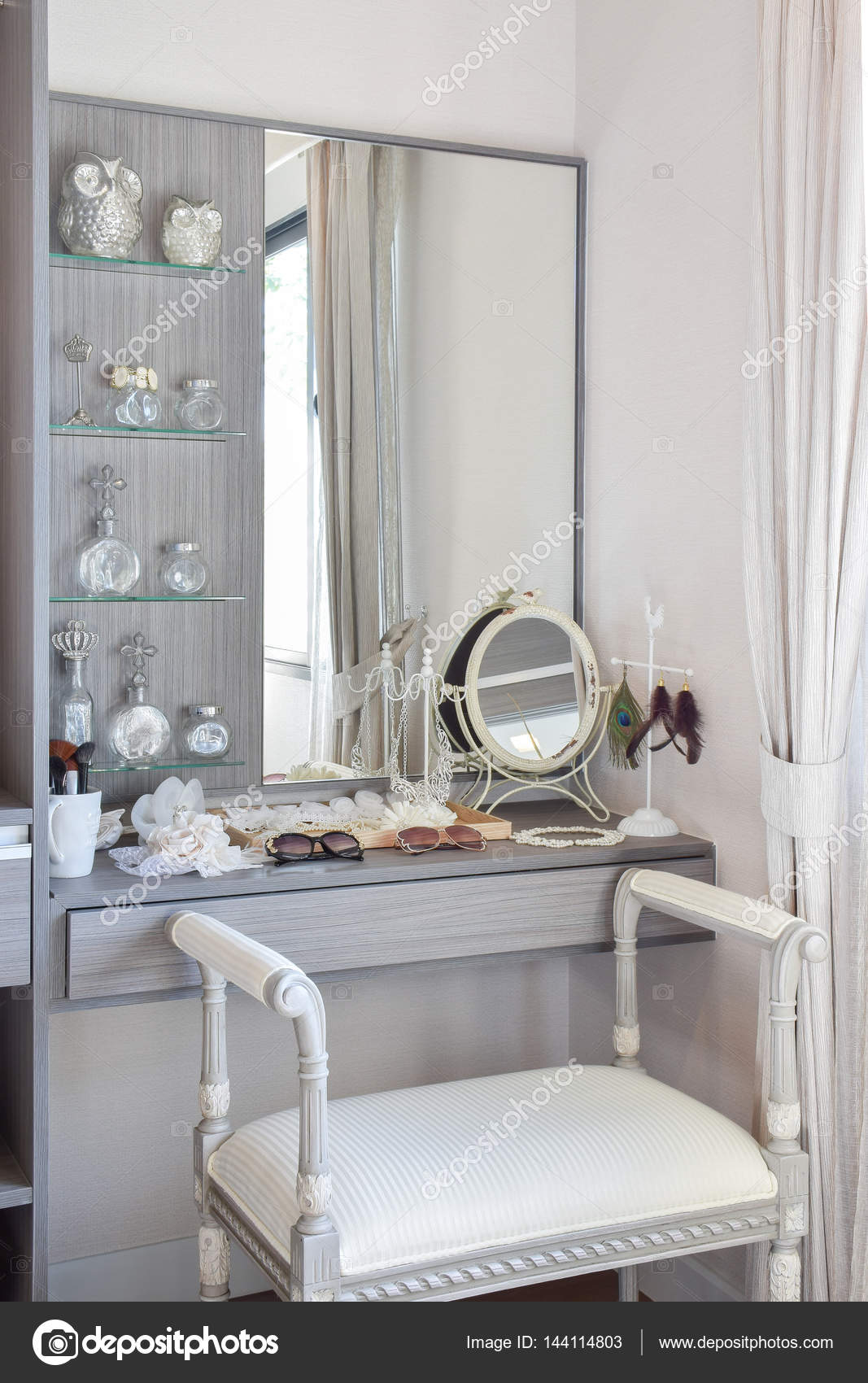 Vintage style dressing room with classic white chair and dressing vintage style dressing room with classic white chair and dressing table stock photo 144114803 geotapseo Gallery