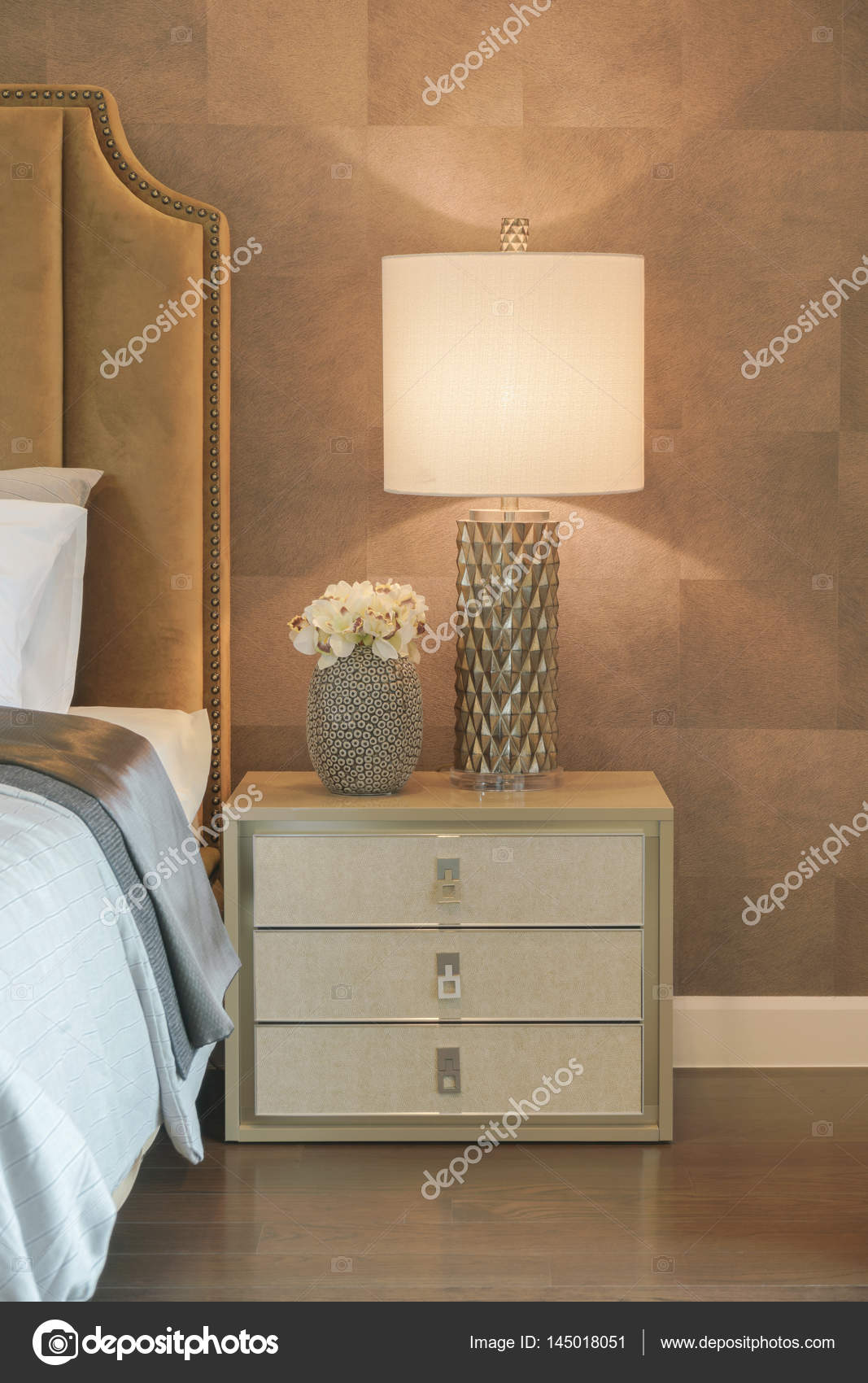 Luxury Style Reading Lamp And Flower Jar Setting On Beautiful Bedside Table  Next To Bed U2014