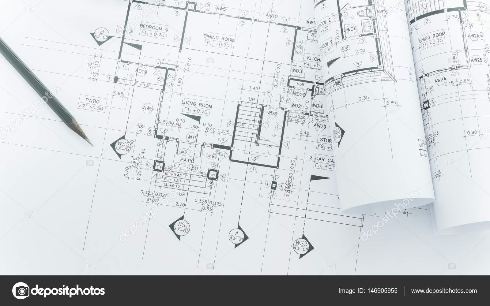 Architects workplace architectural blueprints with measuring tape architects workplace architectural blueprints with measuring tape safety helmet and tools on table top view photo by worldwidestock malvernweather